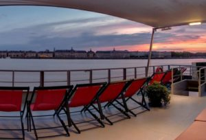 Sunset view on river cruise
